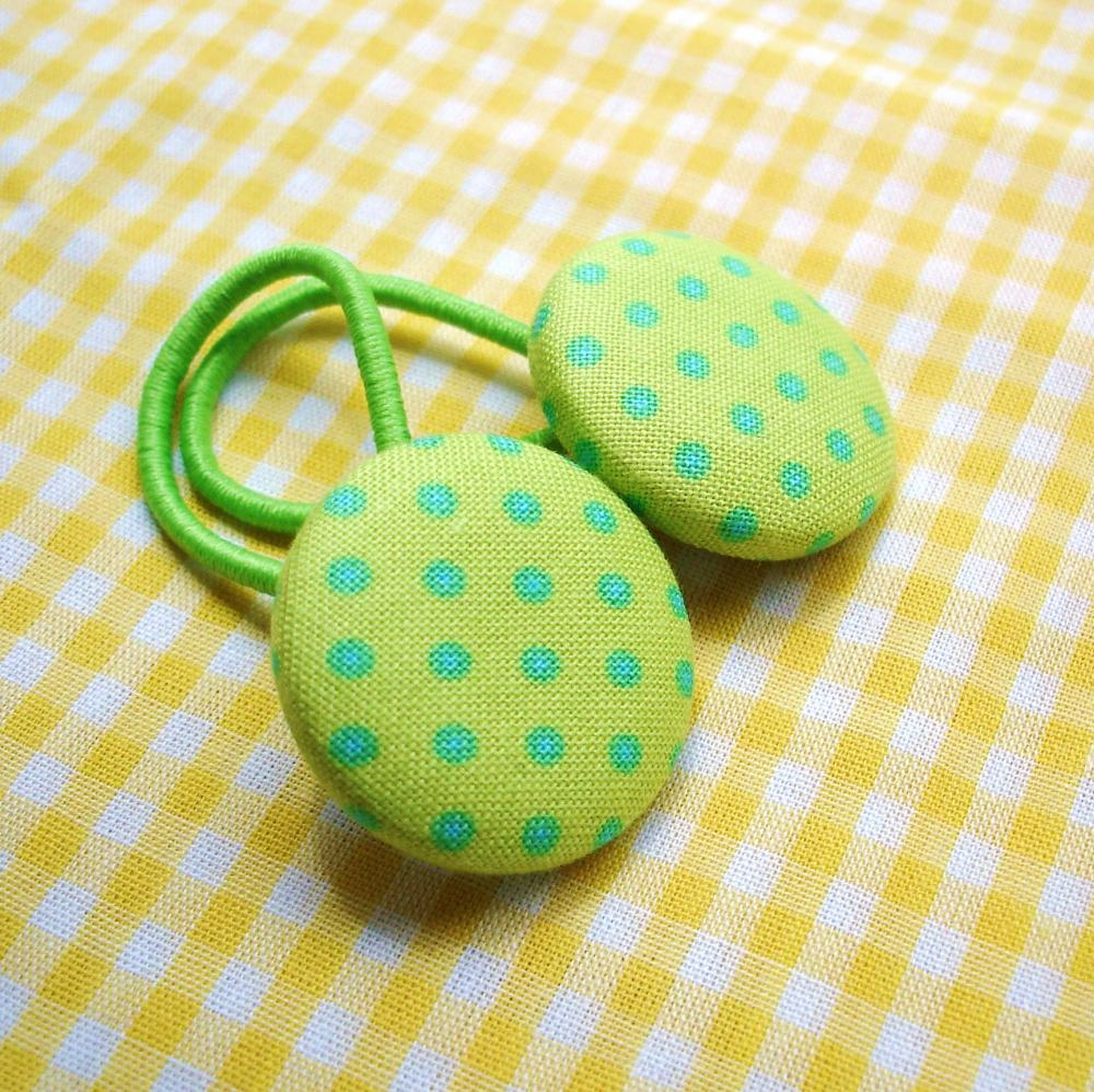 Ponytail Holders, Lime Green with Turquoise Polka Dots