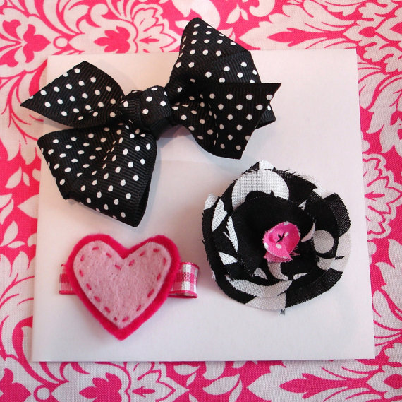SALE Black and Pink Hair Bow Set