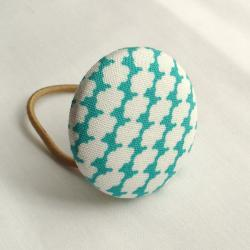 Ponytail Holder, Teal Clouds