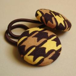 Brown and Gold Houndstooth Ponytail Buttons